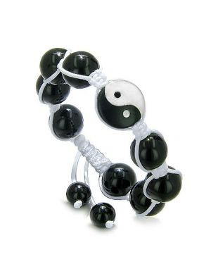 Yin Yang Balance Powers Amulet White Jade Black Onyx Lucky Charm Positive Energies Bracelet