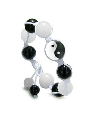 Yin Yang Balance Powers Amulet White Jade Black Onyx Positive Lucky Charm Energies Bracelet
