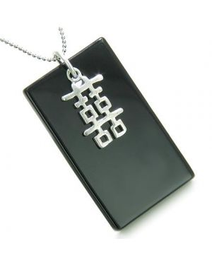 Amulet Double Happiness Fortune 925 Silver Spiritual Powers Black Onyx Tag Pendant Necklace