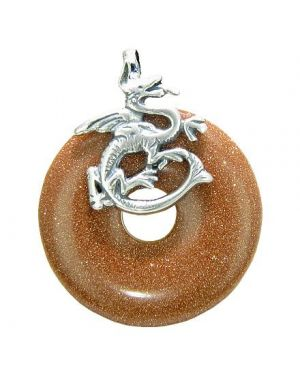 Dragon Good Luck Magic Amulet Lucky Donut Goldstone Gemstone Sterling Silver Pendant