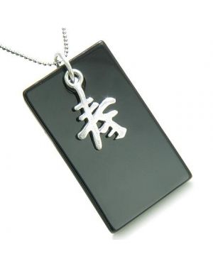 Amulet Good Luck and Long Life 925 Silver Spiritual Powers Black Onyx Gemstone Tag Pendant Necklace