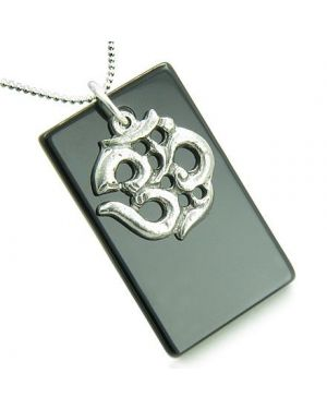 Amulet OM Magic Antiqued Pewter Charm 925 Silver Spiritual Onyx Gemstone Tag Pendant Necklace