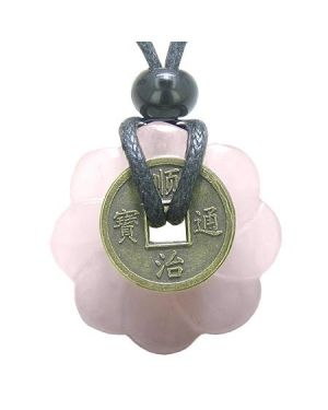 Antique Lucky Coin Celtic Lotus Flower Gemstone Amulet Love Powers Rose Quartz 30mm Donut Necklace