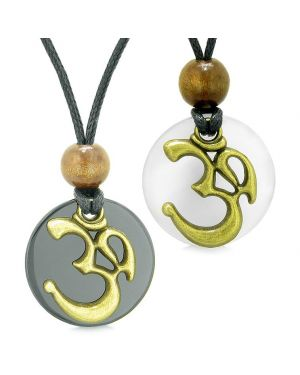 Ancient OM Tibetan Amulets Love Couples Yin Yang Powers Agate White Simulated Cats Eye Necklaces