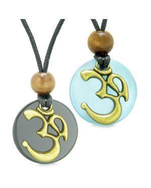 Ancient OM Tibetan Amulets Love Couples Yin Yang Powers Agate Sky Blue Simulated Cats Eye Necklaces