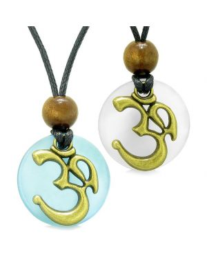 Ancient OM Tibetan Amulets Love Couples Yin Yang Powers Sky Blue White Simulated Cats Eye Necklaces