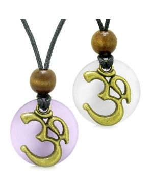 Ancient OM Tibetan Amulets Love Couples Yin Yang Powers Purple White Simulated Cats Eye Necklaces