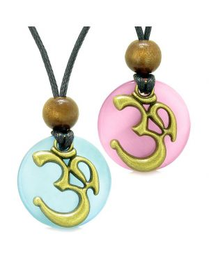 Ancient OM Tibetan Amulets Love Couples Yin Yang Powers Pink Sky Blue Simulated Cats Eye Necklaces