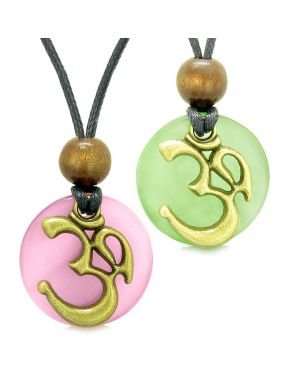 Ancient OM Tibetan Amulets Love Couples Yin Yang Powers Green Pink Simulated Cats Eye Necklaces
