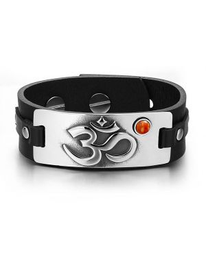 OM Ancient Tibetan Amulet Magic Powers Tag Red Jasper Gemstone Adjustable Black Leather Bracelet