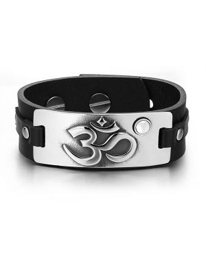 OM Ancient Tibetan Amulet Magic Powers Tag White Simulated Cats Eye Black Leather Bracelet
