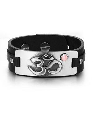 OM Ancient Tibetan Amulet Magic Powers Tag Pink Simulated Cats Eye Black Leather Bracelet