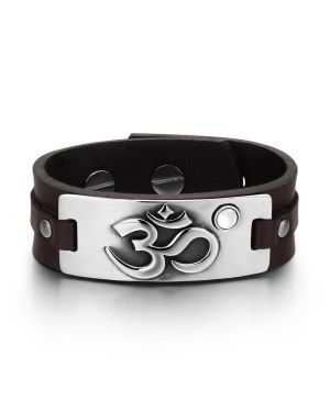 OM Ancient Tibetan Amulet Magic Powers Tag White Simulated Cats Eye Brown Leather Bracelet