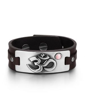 OM Ancient Tibetan Amulet Magic Powers Tag Pink Simulated Cats Eye Dark Brown Leather Bracelet