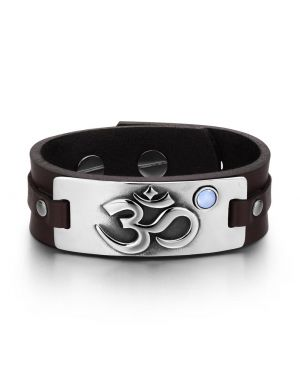 OM Ancient Tibetan Amulet Magic Powers Tag Sky Blue Simulated Cats Eye Brown Leather Bracelet