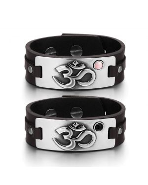 OM Ancient Tibetan Amulets Couples Pink Simulated Cats Eye Simulated Onyx Brown Leather Bracelets