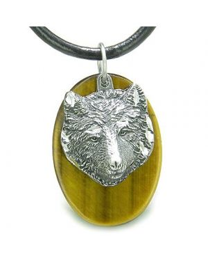 Amulet Protection Wise Wolf Evil Eye Protection Powers Tiger Eye Charm Pendant Necklace