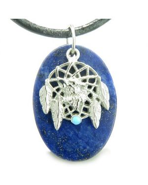 Howling Wolf Dreamcatcher Amulet Good Luck Powers Lapis Lazuli Pendant Leather Cord Necklace