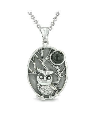 "Amulet Owl and Wild Woods Magic Moon Charm Man Made Black Onyx Gem Pendant on 18"" Necklace"