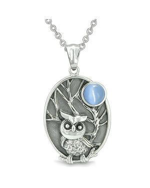 "Amulet Owl and Wild Woods Magic Moon Charm Aqua Blue Cat's Eye Gem Pendant on 22"" Necklace"