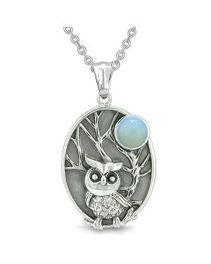 "Amulet Owl and Wild Woods Magic Moon Charm Opalite Crystal Pendant on 18"" Necklace"