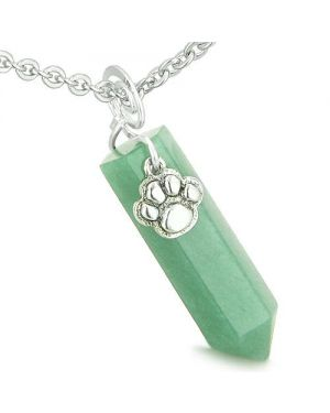 Amulet Lucky Wolf Paw Crystal Point Charm Aventurine Gemstone Good Luck Protection Pendant Necklace