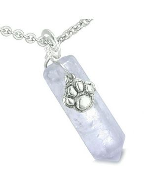Amulet Lucky Wolf Paw Crystal Point Charm Light Amethyst Gemstone Good Luck Safety Pendant Necklace