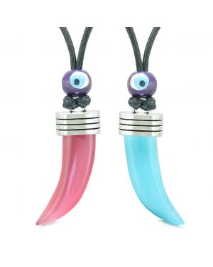 Italian Horn Pepper Tooth Amulet Love Couples BFF Set Hot Pink Sky Blue Simulated Cats Eye Lucky Charm Necklaces
