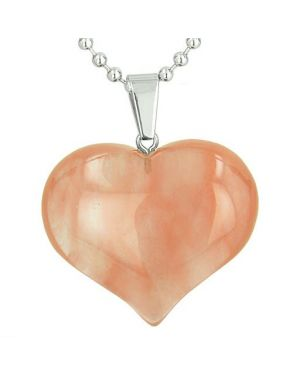 Amulet Large Puffy Heart Lucky Charm in Cherry Quartz Gemstone Healing Powers Pendant Necklace