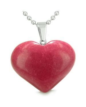 Amulet Large Puffy Heart Lucky Charm in Cherry Red Jade Gemstone Good Luck Powers Pendant Necklace