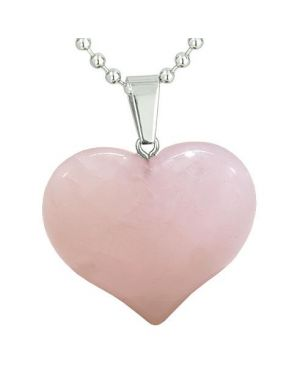 Amulet Large Puffy Heart Lucky Charm in Rose Quartz Gemstone Good Luck Love Powers Pendant Necklace