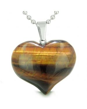 Amulet Large Puffy Heart Lucky Charm in Red Tiger Eye Gemstone Evil Eye Protection Pendant Necklace