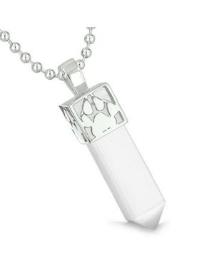 Amulet Reversible Wolf Paw Kanji Super Magic Powers White Cats Eye Crystal Point Pendant Necklace