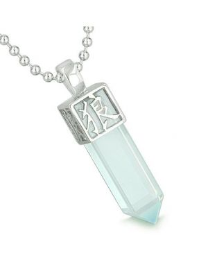 Amulet Reversible Wolf Paw Kanji Magic Super Positive Powers Opalite Crystal Point Pendant Necklace