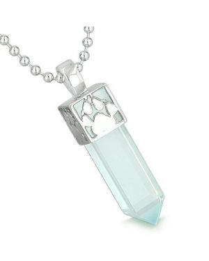 Amulet Reversible Wolf Paw Kanji Super Magic Positive Powers Opalite Crystal Point Pendant Necklace
