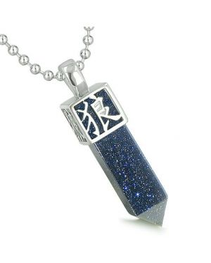 Amulet Reversible Wolf Paw Kanji Magic Super Powers Blue Goldstone Crystal Point Pendant Necklace