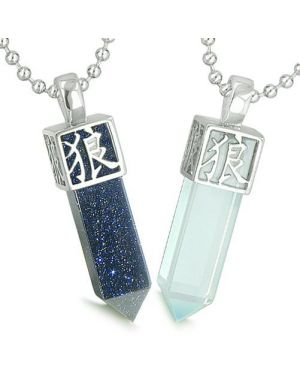 Amulets Love Couples Best Friends Reversible Kanji Wolf Paw Yin Yang Goldstone Opalite Necklaces