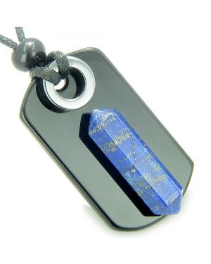Exclamation Triple Lucky Amulet Crystal Point Tag Onyx Hematite Lapis Lazuli Pendant Necklace