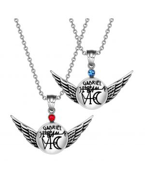 Archangel Gabriel Magic Amulets Love Couples Set Angel Wings Pendant Necklaces
