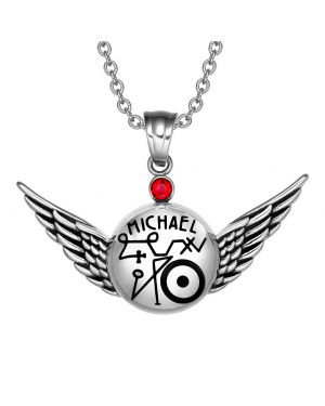 Magic Powers Archangel Michael Sigil Angel Wings Amulet Pendant Necklace