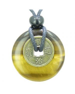 Antique Lucky Coin Evil Eye Protection Powers Amulet Tiger Eye Gemstone 30mm Donut Pendant Necklace