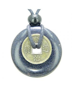 Antique Lucky Coin Good Luck Powers Amulet Blue Goldstone Gemstone 30mm Donut Pendant Necklace