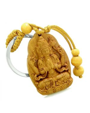 Amulet Blooming Magic Lotus Praying Kwan Yin Quan Powers Charms Feng Shui Symbols Keychain Blessing