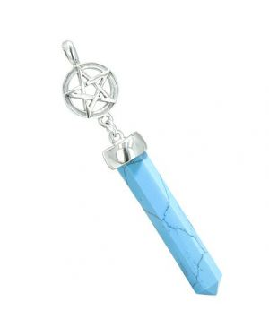 Magic Energy Powers Star Pentacle Circle Pentagram Amulet Crystal Point Charm Turquoise Pendant
