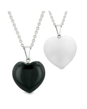Amulets Lucky Puffy Hearts Love Couples or Best Friends Set Agate White Quartz Pendant Necklaces