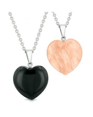 Amulets Lucky Puffy Hearts Love Couples or Best Friends Set Agate Simulated Cherry Quartz Necklaces