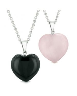 Amulets Lucky Puffy Hearts Love Couples or Best Friends Black Agate Rose Quartz Pendant Necklaces