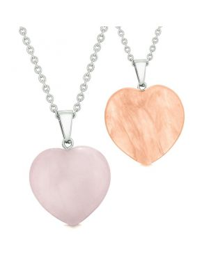 Amulets Lucky Puffy Hearts Love Couples Best Friends Simulated Cherry Quartz Rose Quartz Necklaces