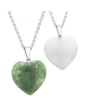 Amulets Lucky Puffy Hearts Love Couples Best Friends Green Moss Agate Quartz Pendant Necklaces