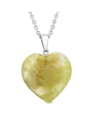 Lucky Puffy Heart Charm Crystal Olive Moss Agate Good Luck Powers Amulet Pendant 22 Inch Necklace
